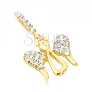 Zlatý přívěsek 585 - lesklý obrys andílka, velká zirkonová křídla