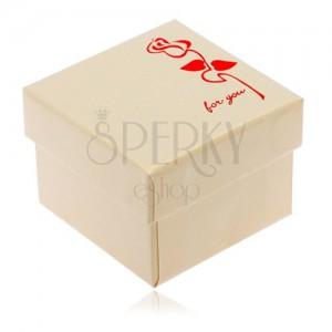 Lesklá krémová krabička na prsten, červený květ, For you