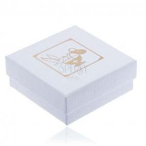 Vroubkovaná bílá dárková krabička na šperk, zlatá holubice, džbán a kalich
