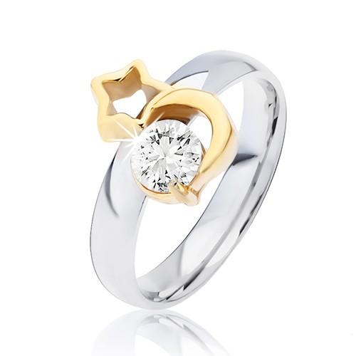 Levně Ocelový prsten stříbrné barvy, zlatý měsíc, obrys hvězdy a čirý zirkon - Velikost: 59