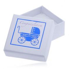 Bílá dárková krabička na šperk - modrý dětský kočárek Y25.4