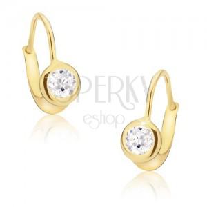 Zlaté náušnice 585 - kruhová blyštivá objímka, broušený čirý kamínek