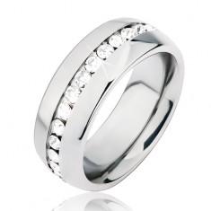 Lesklá stříbrná ocelová obroučka na prst, středový výřez s čirými kamínky BB6.11