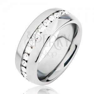 Lesklá stříbrná ocelová obroučka na prst, středový výřez s čirými kamínky