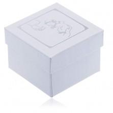 Perleťová krabička na náušnice - stříbrný motiv křtu
