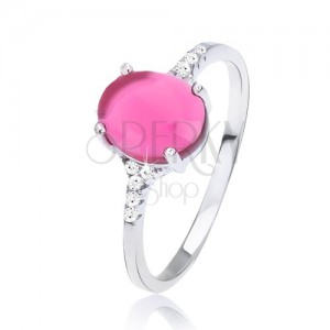 Prsten ze stříbra 925 - hladký oválný růžový kamínek