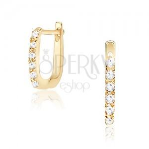 Náušnice ve žlutém 14K zlatě - svislý pás čirých kulatých kamínků