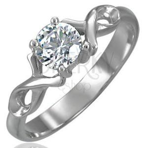Zásnubní prsten se zirkonem a dvojitou ocelovou stužkou