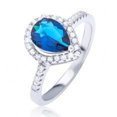 Stříbrný prsten 925 s tmavomodrým slzičkovým zirkonem BB6.16