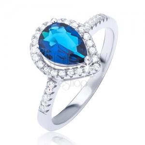 Stříbrný prsten 925 s tmavomodrým slzičkovým zirkonem