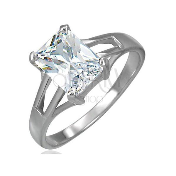 Snubní prsten veliký obdélníkovitý zirkon se třemi otvory po obou stranách