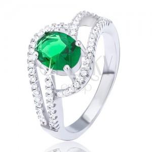Prsten ze stříbra 925, zdvojená zirkonová vlnka, oválný zelený kamínek