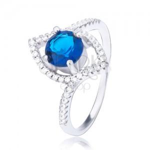 Stříbrný prsten 925, zvlněná elipsa, vystouplý tmavomodrý zirkon