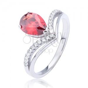 Prsten ze stříbra 925, červený slzičkový zirkon a zdvojená špička