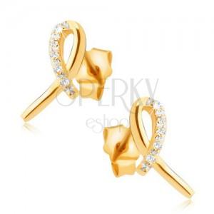 Náušnice ze žlutého 14K zlata - lesklá stužka, oblouk z čirých kamínků