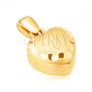 Zlatý přívěsek 585 - pravidelné 3D srdce, saténový povrch, ozdobné rýhy
