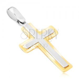 Přívěsek ze zlata 14K - dvoubarevný latinský kříž, matno-lesklý