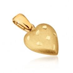 Zlatý přívěsek 585 - prostorové srdce se saténovým povrchem, rýhy GG14.05