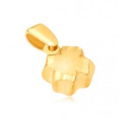 Přívěsek ve žlutém 14K zlatě - 3D čtyřlístek, saténový povrch, rýhované okraje GG13.41