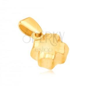 Přívěsek ve žlutém 14K zlatě - 3D čtyřlístek, saténový povrch, rýhované okraje
