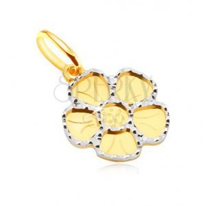 Přívěsek ve žlutém 14K zlatě - plochý pětilistý květ, gravírování
