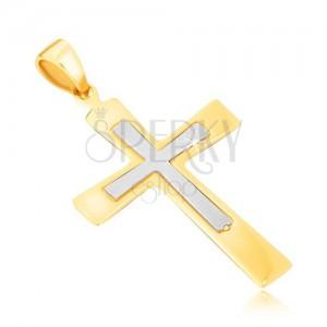 Zlatý přívěsek 585 - lesklý dvojbarevný kříž s rozšiřujícími se rameny