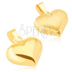 Zlatý přívěsek 585 - trojrozměrné pravidelné srdce, saténovo-lesklé