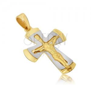 Dvoubarevný přívěsek ze zlata 14K - kříž s ukřižovaným Kristem