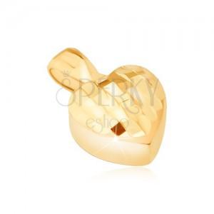Zlatý přívěsek 585 - trojrozměrná symetrická srdce, drobné lesklé plošky