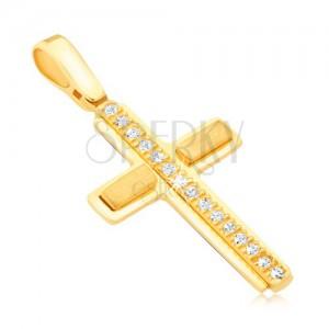 Přívěsek ze žlutého 14k zlata - latinský kříž, zirkonový pás, matné obdélníky
