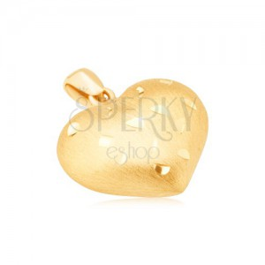 Zlatý přívěsek 585 - pravidelné 3D srdce, drobné lesklé rýhy, saténový povrch