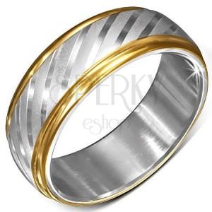 Ocelový prsten se zlatými okraji a saténovými diagonálními pásy