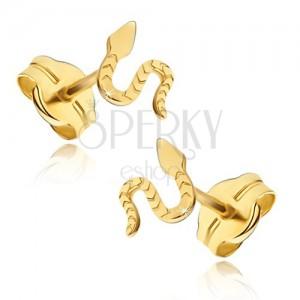 Náušnice ze žlutého 14K zlata - lesklý plazící sa had, rýhovaný povrch