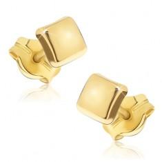 Zlaté blyštivé náušnice 585 - lesklé čtverce s mírně vypouklým povrchem