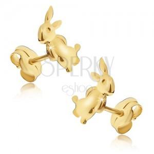 Náušnice ze žlutého 14K zlata - zajíček stojící na zadních nohou