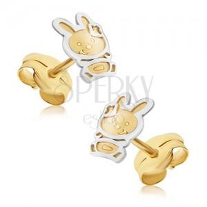 Zlaté náušnice 585 - dvoubarevný zajíček se saténovým povrchem, lesklá kontura