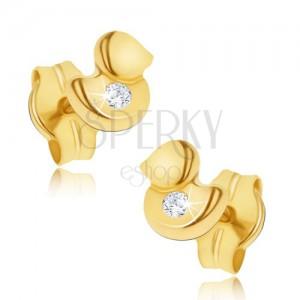Náušnice ve žlutém 14K zlatě - maličká blyštivá kachnička, čirý zirkon