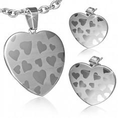 Set z chirurgické oceli - přívěsek a náušnice, symetrické srdce