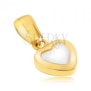 Zlatý přívěsek 585 - dvoubarevné pravidelné srdce, lesklý zaoblený povrch
