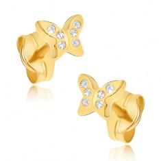Náušnice ze žlutého 14K zlata - maličcí zirkonoví motýli GG19.03