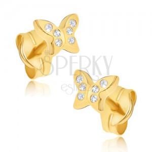 Náušnice ze žlutého 14K zlata - maličcí zirkonoví motýli