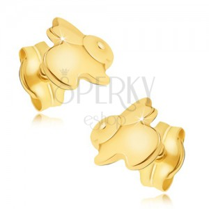 Zlaté náušnice 585 - zrcadlově lesklý skákající zajíček