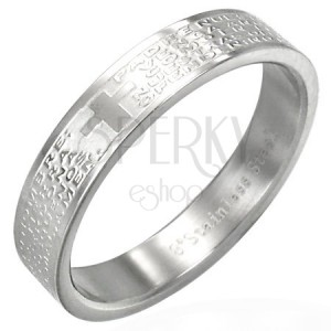 Stříbrný ocelový kroužek na prst s modlitbou a křížem