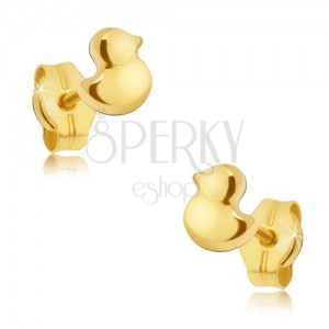 Zlaté puzetové náušnice 585 - maličké blyštivé kachničky