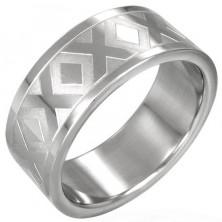 Ocelový prsten stříbrné barvy se vzorem X, 8 mm