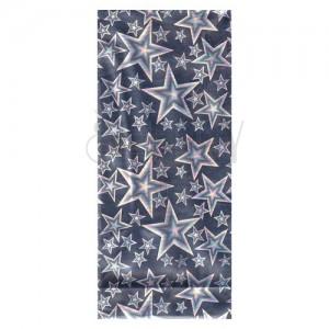 Stříbrný dárkový sáček z celofánu s duhovým odleskem - hvězdy