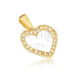 Přívěsek ze žlutého 14K zlata - kontura pravidelného srdce, zirkony