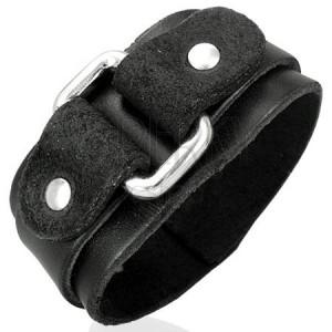 Černý kožený náramek na ruku s obdélníkovou přezkou