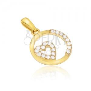 Přívěsek ze žlutého 14K zlata - kulatý rámeček, zirkonové srdce, kamínky
