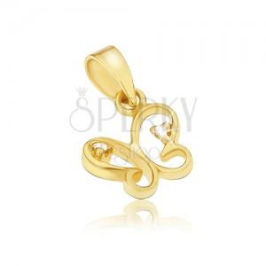 Přívěsek ze žlutého 14K zlata - kontura malého motýlka, čiré kamínky